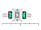 Green And White Cubic Zirconia Rhodium Over Sterling Silver Ring 4.65ctw