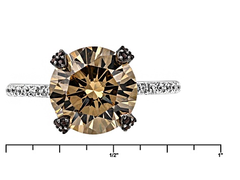 White, Brown, And Mocha Cubic Zirconia Rhodium Over Sterling Silver Ring 7.72ctw