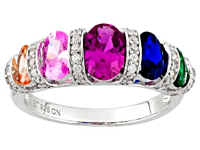 Synthetic Blue Spinnel, Synthetic Pink Sapphire, Multicolor Cubic Zirconia Silver Ring 2.88ctw
