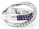 Purple And White Cubic Zirconia Rhodium Over Sterling Silver Ring 2.11ctw