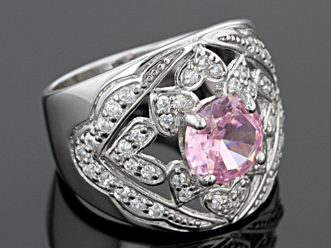 Pink And White Cubic Zirconia Rhodium Over Sterling Silver Ring 4.26ctw