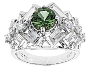 Lab Created Green Spinel And White Cz Rhodium Over Sterling Silver Ring 7.97ctw