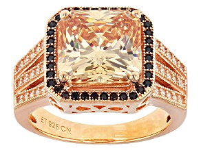 Brown And White Cubic Zirconia 18k Rose Gold Over Silver Ring 10.01ctw