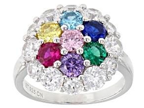 Multicolor Cubic Zirconia Gem Simulants Rhodium Over Sterling Silver Ring 3.20ctw