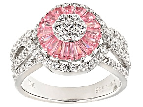 Pink And White Cubic Zirconia Rhodium Over Sterling Silver Ring 3.80ctw