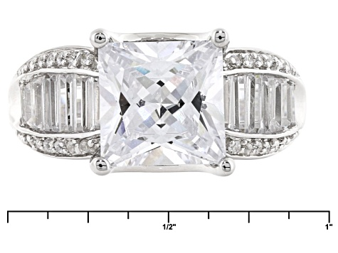 White Cubic Zirconia Rhodium Over Sterling Silver Ring 5.73ctw