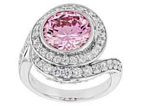 Pink And White Cubic Zirconia Rhodium Over Sterling Silver Ring 8.08ctw