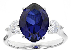 Lab Created Blue Sapphire And White Cubic Zirconia Rhodium Over Sterling Heart Ring 5.49ctw
