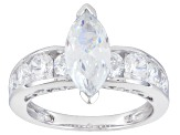 White Cubic Zirconia Rhodium Over Sterling Silver Ring 3.89ctw