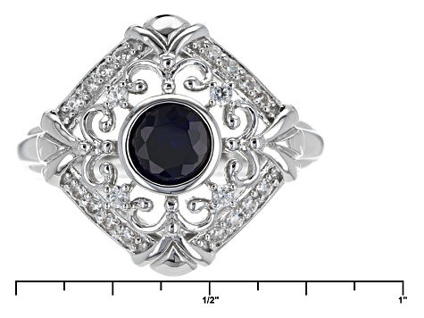 Synthetic Blue Sapphire And White Cubic Zirconia Rhdoium Over Sterling Ring 1.15ctw