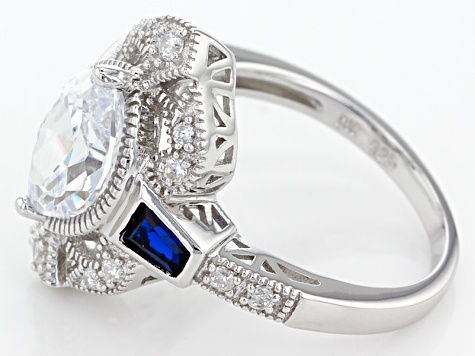 Blue And White Cubic Zirconia Rhodium Over Sterling Silver Ring 3.94ctw