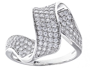 White Cubic Zirconia Rhodium Over Sterling Silver Ring .96ctw
