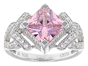 Pink And White Cubic Zirconia Rhodium Over Sterling Silver Ring 5.00ctw