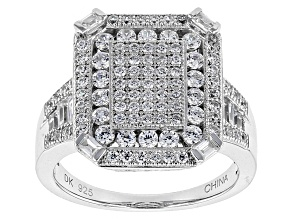 White Cubic Zirconia Rhodium Over Sterling Silver Ring 1.89ctw