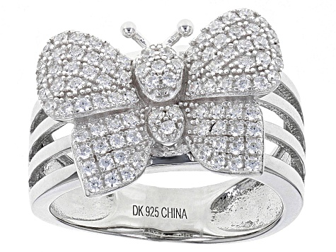 White Cubic Zirconia Rhodium Over Sterling Silver Butterfly Ring 1.38ctw