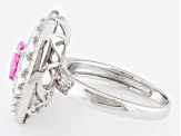 Pink And White Cubic Zirconia Rhodium Over Sterling Silver Ring 3.78ctw