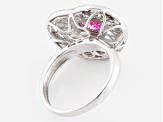 Pink And White Cubic Zirconia Rhodium Over Sterling Silver Heart Ring 3.78ctw