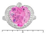 Pink And White Cubic Zirconia Rhodium Over Sterling Silver Heart Ring 11.89ctw