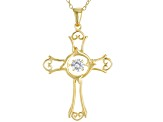 White Cubic Zirconia 18k Yellow Gold Over Sterling Silver Pendant With Chain .45ctw