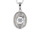 White Cubic Zirconia Rhodium Over Sterling Silver Pendant With Chain 1.00ctw