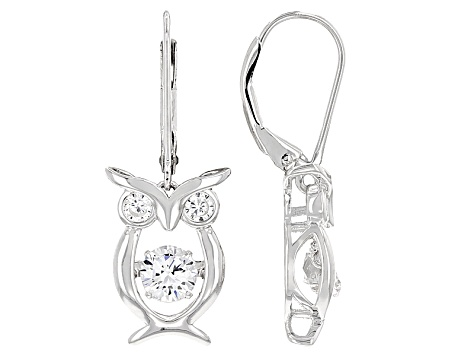 White Cubic Zirconia Rhodium Over Silver Owl Earrings 1.35ctw