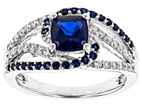 Lab Created Sapphire And White Cubic Zirconia Silver Ring 1.66ctw DEW)