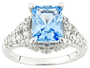 Synthetic Blue Spinel And Whit Cubic Zirconia Silver Ring 3.57ctw