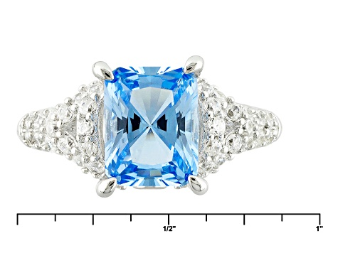 Lab Created Blue Spinel And Whit Cubic Zirconia Silver Ring 3.57ctw