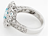 Blue And White Cubic Zirconia Silver Ring 3.61ctw (2.43ctw DEW)