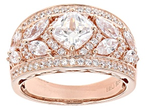 White Cubic Zirconia 18k Rose Gold Over Sterling Silver Ring 3.45ctw