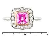 Pink And White Cubic Zirconia Silver And 18k Rose Gold Accent Plating 2.69ctw (1.56ctw DEW)