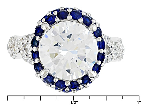 White Cubic Zirconia And Lab Created Sapphire Silver Ring 8.23ctw