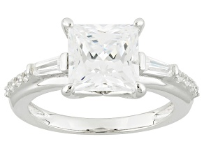 Cubic Zirconia Rhodium Over Sterling Silver Ring 5.60ctw (3.31ctw DEW)