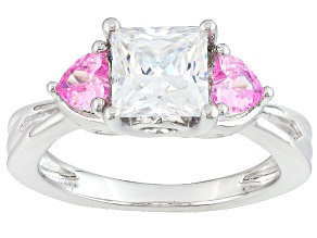 White And Pink Cubic Zirconia Silver Ring 3.51ctw (2.09ctw DEW)