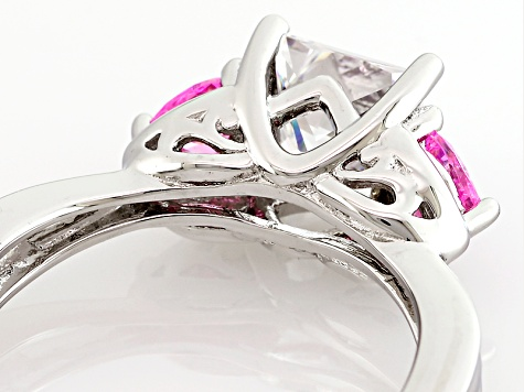 White And Pink Cubic Zirconia Silver Heart Ring 3.51ctw (2.09ctw DEW)