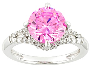 Pink And White Cubic Zirconia Silver Ring 5.43ctw (3.33ctw DEW)