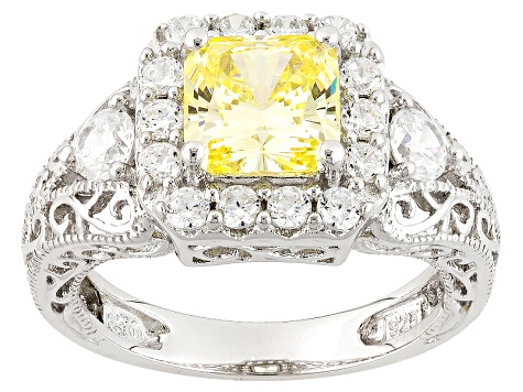 Yellow And White Cubic Zirconia Silver Ring 4.17ctw (2.76ctw DEW)