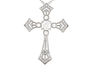 Cubic Zirconia Silver Cross Pendant With Chain 1.03ctw (.58ctw DEW)
