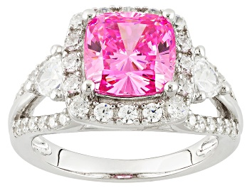 Picture of Pink And White Cubic Zirconia Rhodium Over Sterling Silver Ring 5.78ctw (3.56ctw DEW)