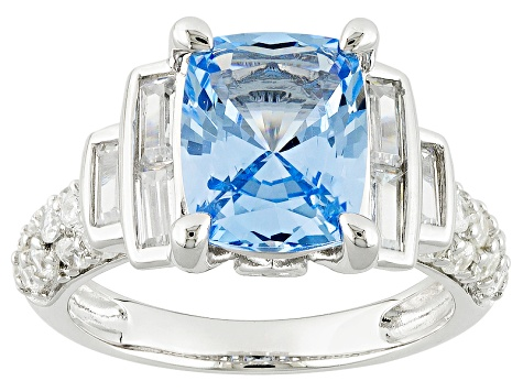 Lab Created Blue Spinel And White Cubic Zirconia Silver Ring 4.77ctw