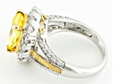 Yellow And White Cubic Zirconia Rhodium And 18k Yellow Gold Over Silver Ring 5.54ctw