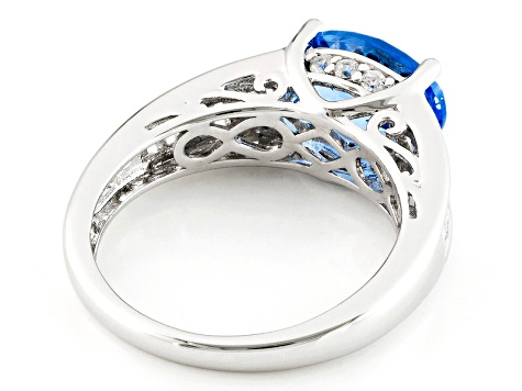 Lab Created Blue Spinel And White Cubic Zirconia Silver Ring 3.30ctw