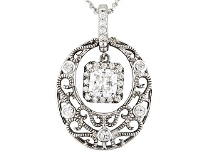 Cubic Zirconia Silver Pendant With Chain 3.01ctw (2.01ctw DEW)
