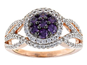 Purple And White Cubic Zirconia 18k Rose Gold Over Sterling Silver Ring 1.83ctw