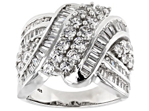 Cubic Zirconia Rhodium Over Sterling Silver Ring 4.80ctw (3.14ctw DEW)