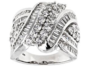 Cubic Zirconia Silver Ring 4.80ctw (3.14ctw DEW)