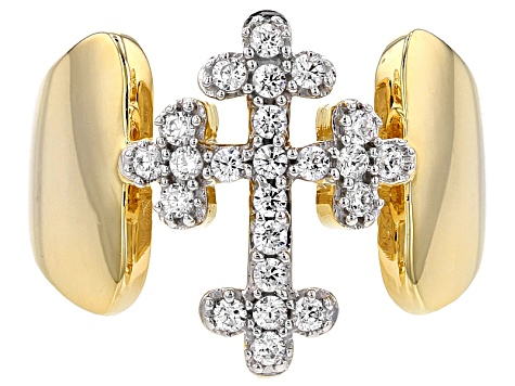 White Cubic Zirconia 18k Yellow Gold Over Sterling Silver Cross Ring 0.65ctw