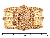 Brown And White Cubic Zirconia 18k Yellow Gold Over Silver Ring 4.02ctw (2.15ctw DEW)
