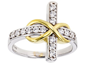 Cubic Zirconia Rhodium And 18k Yellow Gold Over Silver Cross Ring .70ctw (.37ctw DEW)