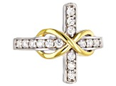 Cubic Zirconia Silver And 18k Yellow Gold Over Silver Cross Ring .70ctw (.37ctw DEW)
